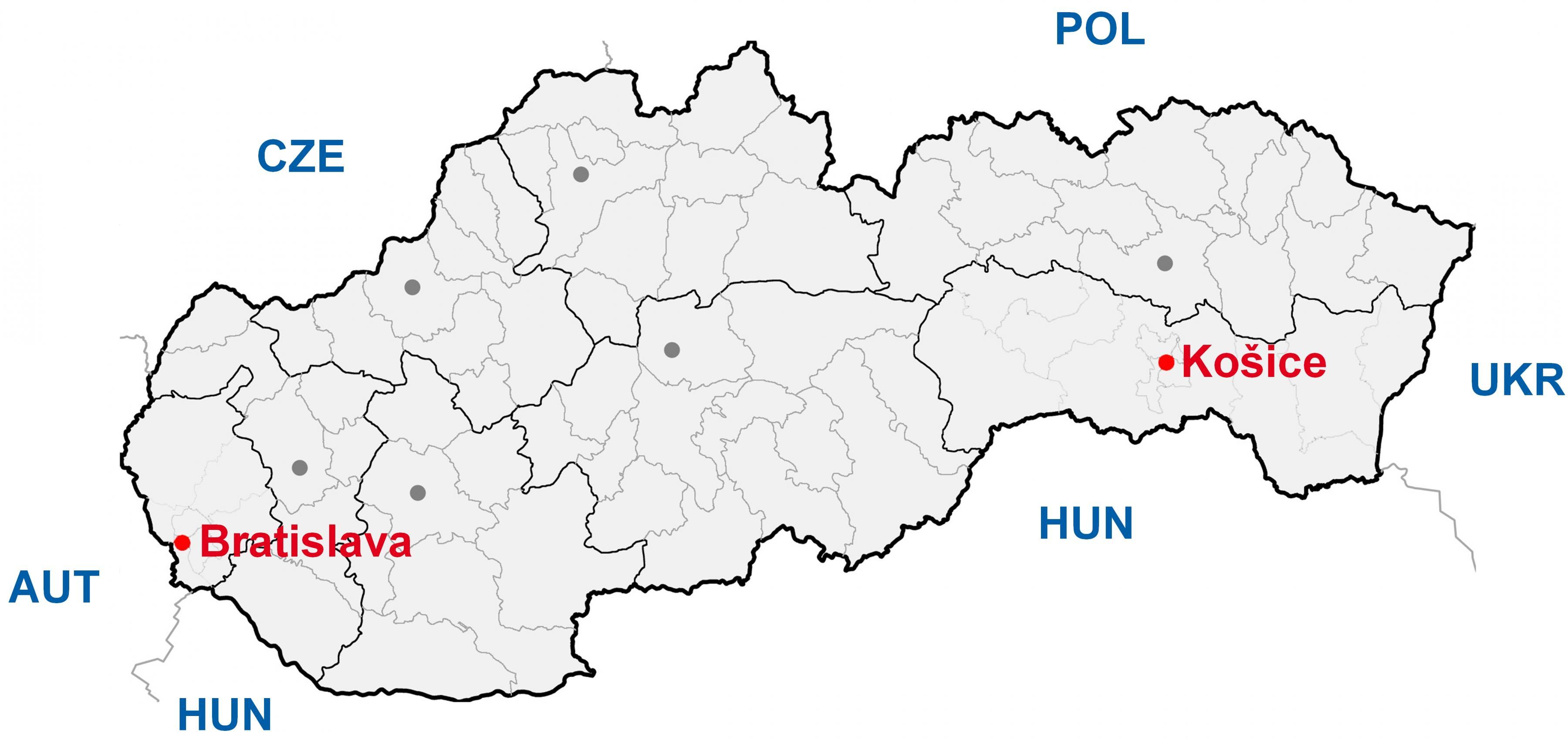 mapa slovačke Kosice Slovačke mapu   Mapa kosice Slovačke (Istočne Evrope   Evropi) mapa slovačke