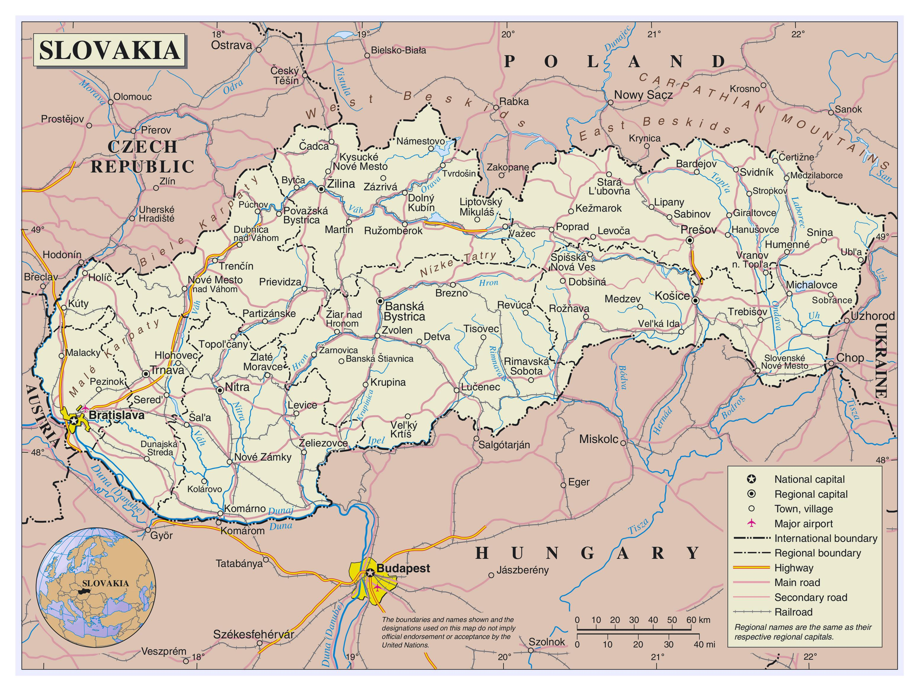 Slovacke Aerodrome Mapu Mapa Slovacke Aerodrome Istocne Evrope