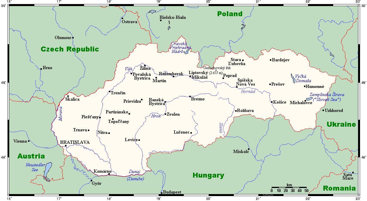 Slovacke Gradova Mapu Mapa Slovacke Sa Gradovima Istocne Evrope