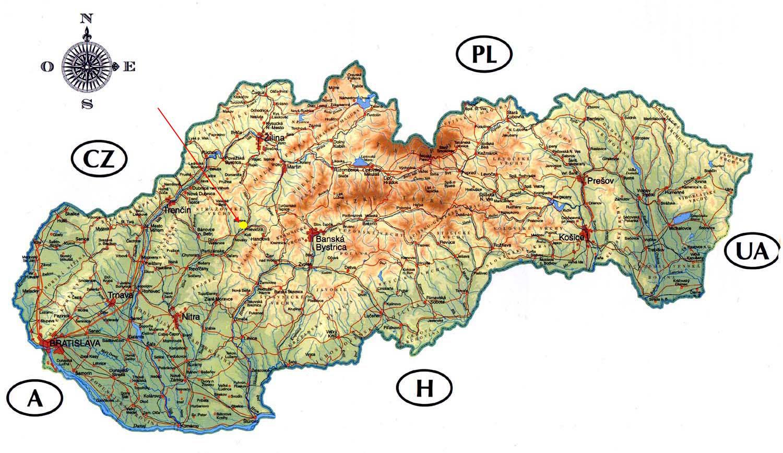 Slovacke Zamkovima Mapu Mapa Slovacke Zamkovima Istocne Evrope