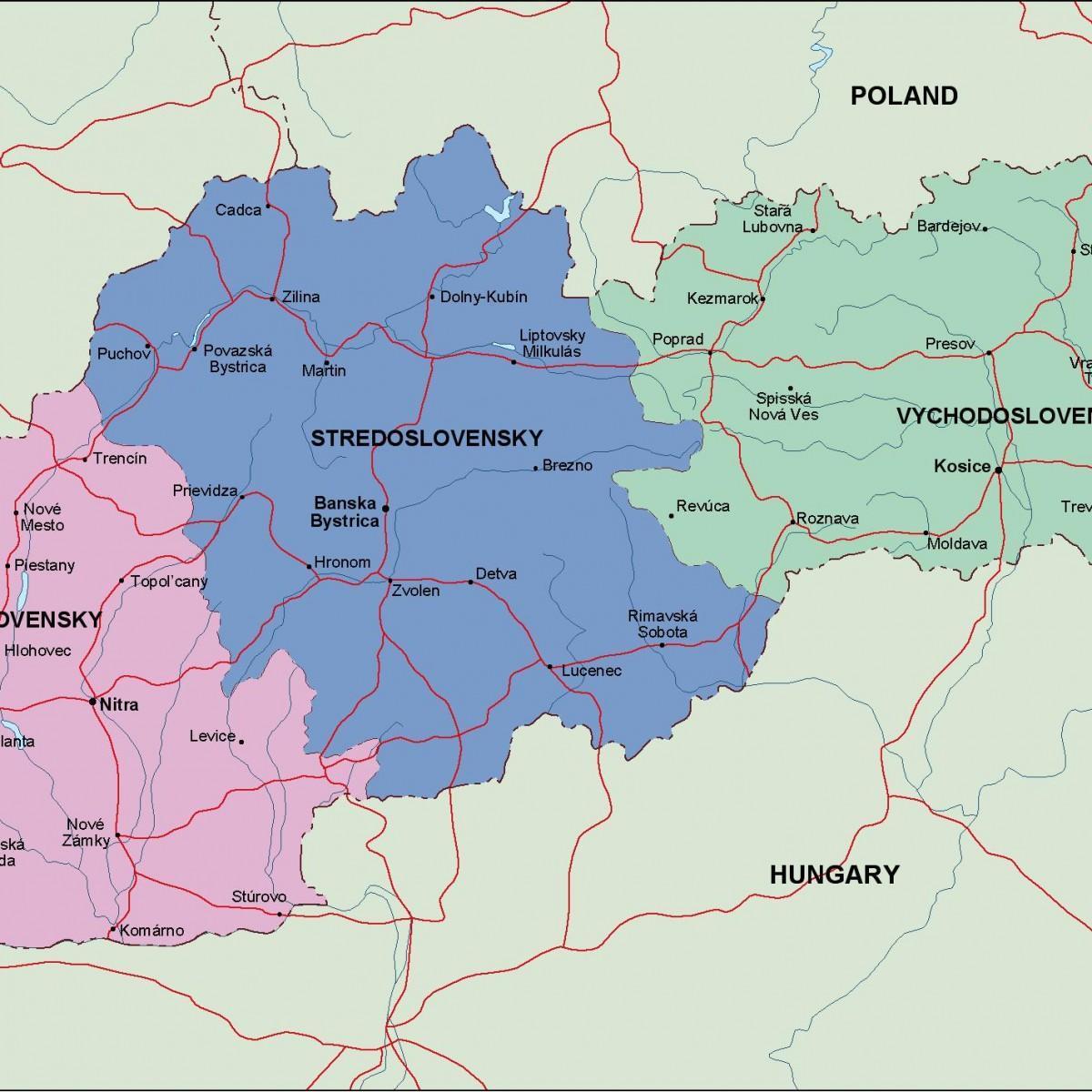 Slovacke Politicki Mapu Mapa Slovacke Politicki Istocne Evrope