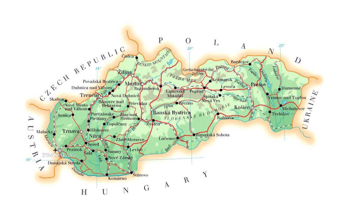 Slovacke Ski Odmaralista Mapu Mapa Slovacke Ski Odmaralista
